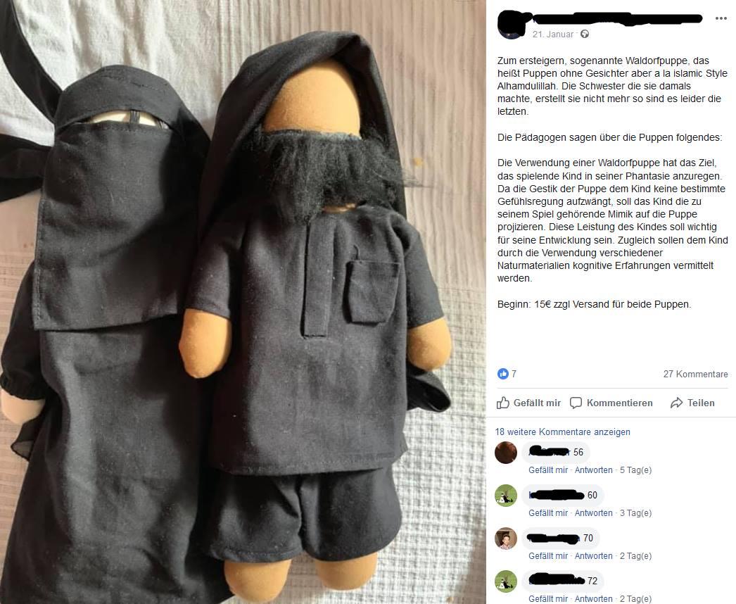 Islamische Waldorfpuppe mit Bart und Schleier, aber ohne Gesicht